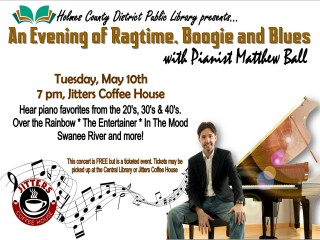 An Evening of Ragtime, Boogie and Blues with Pianist Matthew Ball @ Jitters Coffee House | Millersburg | Ohio | United States